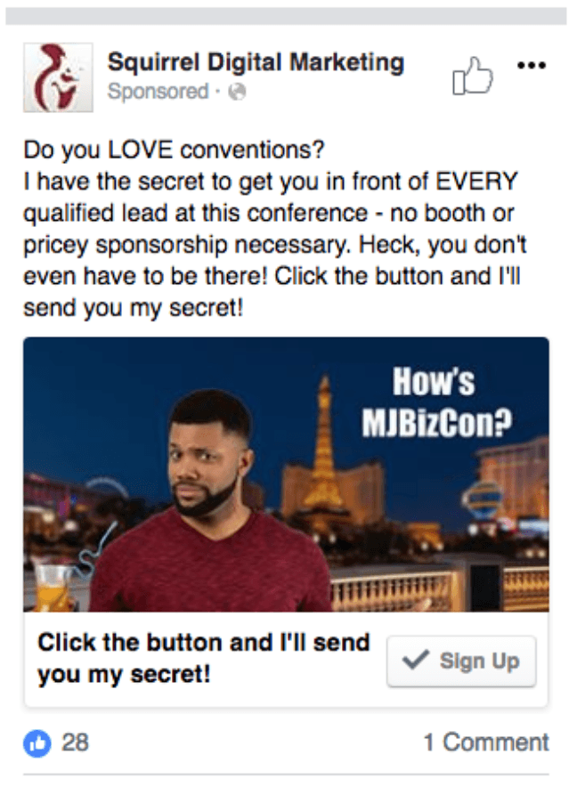 during conference facebook ad