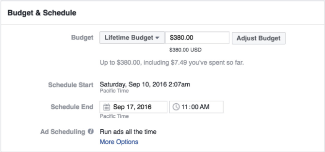 example facebook ad budget