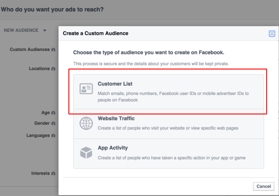creating fb custom audience