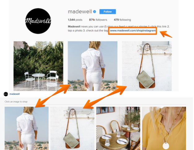 Madewell Instagram and landing pages