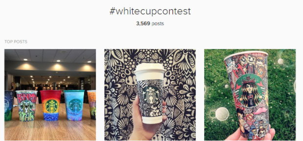 Starbucks white cup contest top Instagram posts