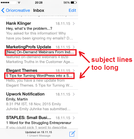 Inbox with long subject lines