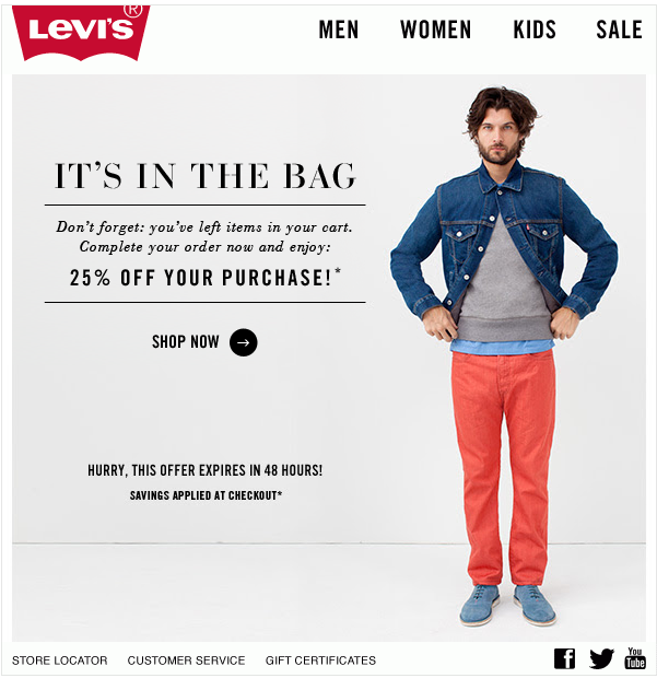 Levi's abandoned cart email