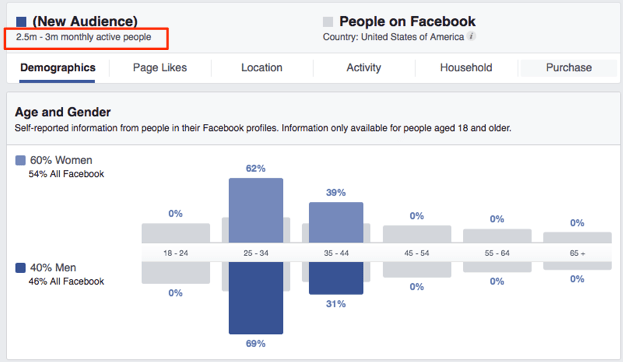 Facebook insights results