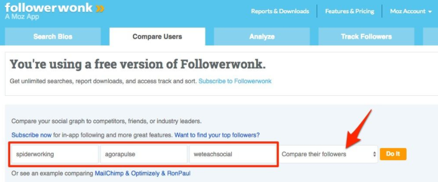 follower wonk compare users