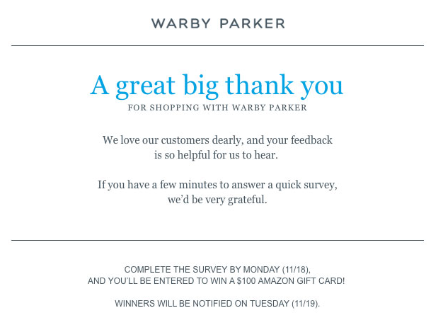 Warby Parker order confirmation email