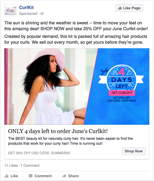 Facebook ad with urgency