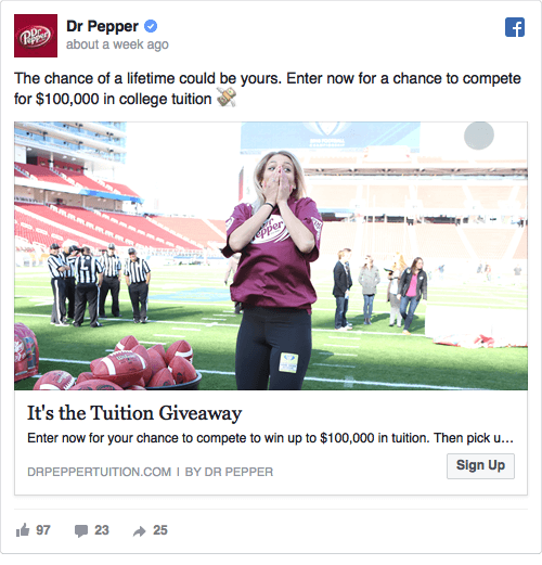 Dr. Pepper Facebook ad offer